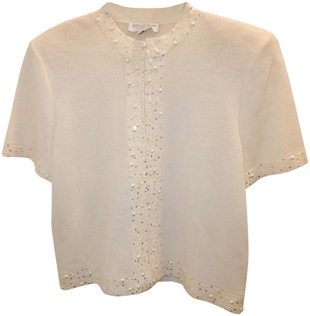 Item - Ivory Couture Knit Pearl Sequin Zip Usa Jacket Size 6 (S)