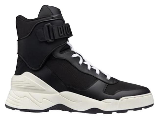 Dior Black Jumper White Matte Leather High Top Lace Up Flat Trainer Sneakers Size EU 40 (Approx. US 10) Regular (M, B) Dior Black Jumper White Matte Leather High Top Lace Up Flat Trainer Sneakers Size EU 40 (Approx. US 10) Regular (M, B) Image 1