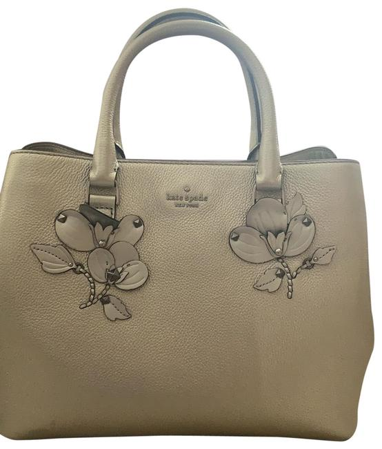 Item - Silver W Gold Tint Leather Satchel