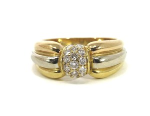 Cartier Diamond 18k Tri-Color Gold Ribbed Style Band Ring