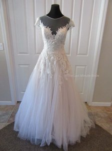Allure Bridals Champagne/Ivory/Silver Lace and Tulle 3117 Feminine Wedding Dress Size 12 (L)