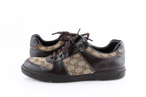 Gucci Brown Brown/Beige Signature Monogram Canvas Leather Sneakers Shoes
