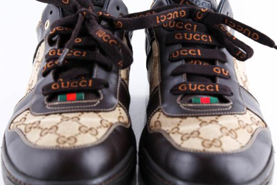 Gucci Brown Brown/Beige Signature Monogram Canvas Leather Sneakers Shoes Image 11