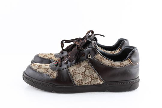 Gucci Brown Brown/Beige Signature Monogram Canvas Leather Sneakers Shoes Image 2