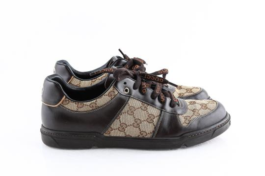 Gucci Brown Brown/Beige Signature Monogram Canvas Leather Sneakers Shoes Image 3