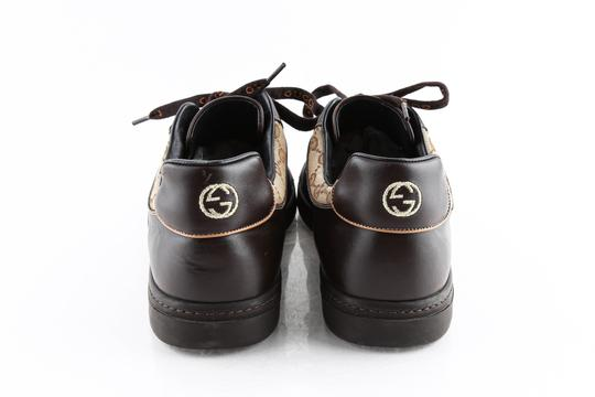 Gucci Brown Brown/Beige Signature Monogram Canvas Leather Sneakers Shoes Image 4