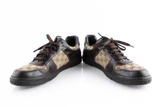 Gucci Brown Brown/Beige Signature Monogram Canvas Leather Sneakers Shoes Image 5