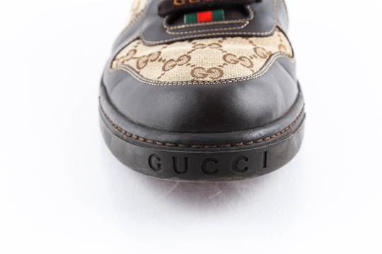 Gucci Brown Brown/Beige Signature Monogram Canvas Leather Sneakers Shoes Image 7