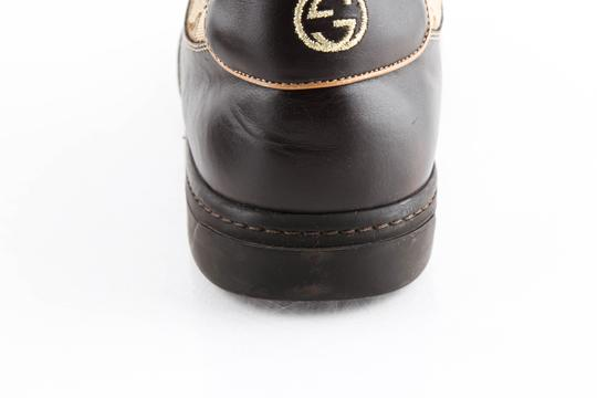 Gucci Brown Brown/Beige Signature Monogram Canvas Leather Sneakers Shoes Image 9