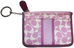 Coach Coach Signature Leather Pink White Striped Wallet