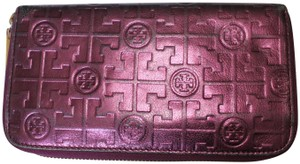 Tory Burch Tory Burch Purple Metallic Zip Around Wallet