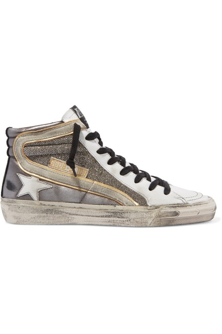 Item - Slide Distressed Suede-trimmed Leather and Lurex High-top Sneakers Size EU 39 (Approx. US 9) Regular (M, B)