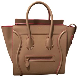Céline Mini Luggage Tan Tote in Beige & Pink