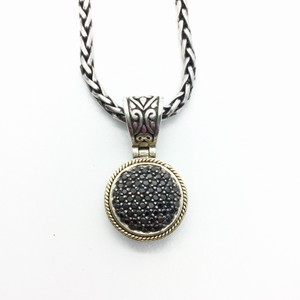 EFFY BLACK DIAMONDS PAVE 18K GOLD AND STERLING SILVER PENDANT ON CHAIN NECKLACE