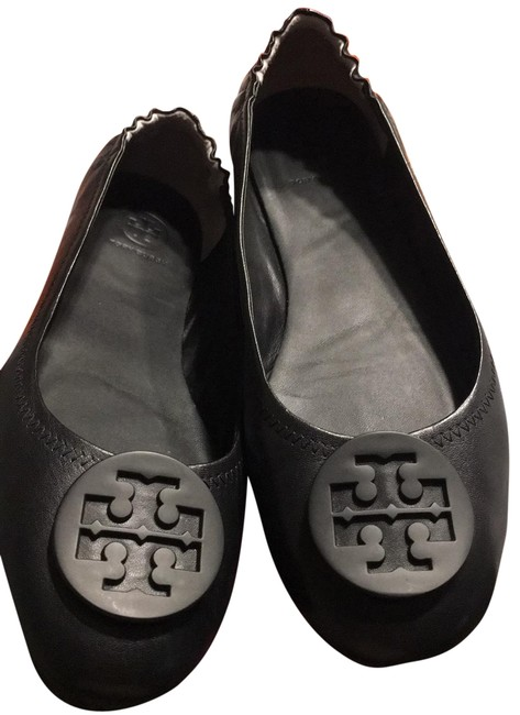 Tory Burch Black Minnie Travel Ballet with Logo Wedges Size US 9.5 Regular (M, B) Tory Burch Black Minnie Travel Ballet with Logo Wedges Size US 9.5 Regular (M, B) Image 1