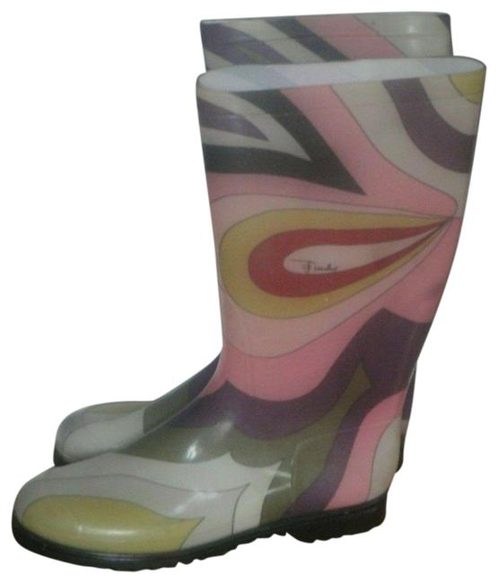 Item - Multicolor Pink Print Rubber Rain 40/9.5 Boots/Booties Size EU 40 (Approx. US 10) Regular (M, B)