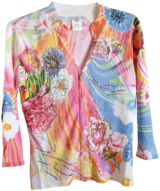 Item - Pink Blue Yellow White Floral Embroidery Cardigan Size 12 (L)