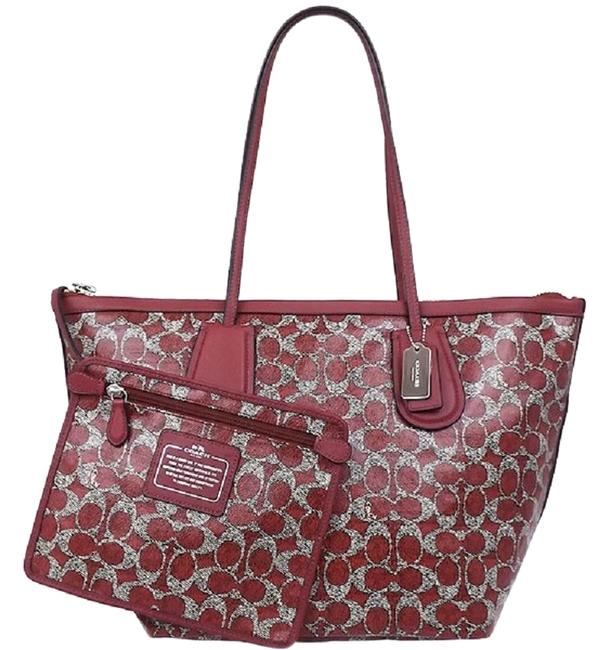 Item - Taxi XL Signature Dark Red with Attached Zip Pouch Set Red-grey-sv Leather/Pvc Tote