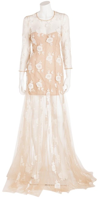 Item - Nude Tulle with White Embroidery Flowers Long Formal Dress Size 8 (M)