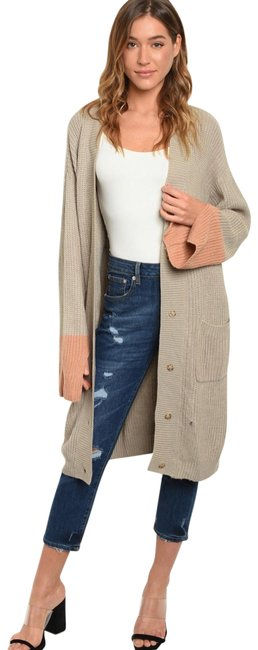 Item - Taupe and Rose Longline Color Block Button Cardigan Size 6 (S)