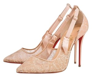 Christian Louboutin Lace Satin Nude Pumps