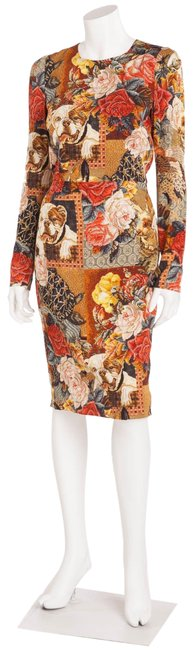 Item - Multi Color Long Sleeve Tapestry and Bulldog Print Mid-length Cocktail Dress Size 6 (S)