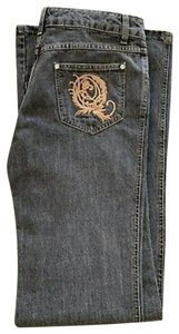 Alexander McQueen Designer Queen Runway Denim Boot Cut Jeans-Distressed