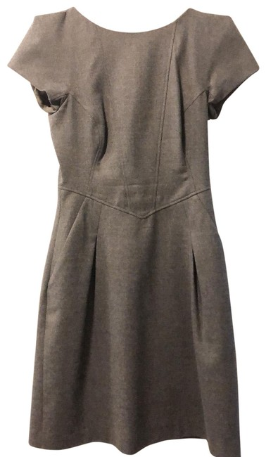 Item - Charcoal Grey Structured Wool Mid-length Work/Office Dress Size 2 (XS)