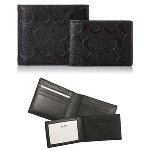 Coach NEW COACH men's Embossed logo leather wallet Removable I.D. card case