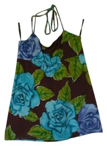 BCBGMAXAZRIA Brown/Floral Halter Top