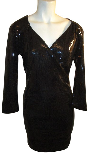 Item - Black 3/4 Sleeve Sequined Short Cocktail Dress Size 4 (S)