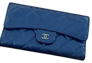 Chanel blue tri wallet