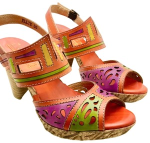 Spring Step Orange, yellow, pink, fuchsia, stacked heel Platforms