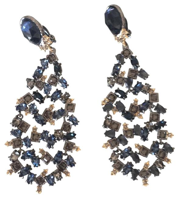 Item - Blue and Natural Color Stones Most Dark Silver Color Metal Chandelier Style Earrings