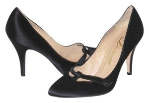 Delman Satin Leather Closed Toe Mary Jane Black Formal
