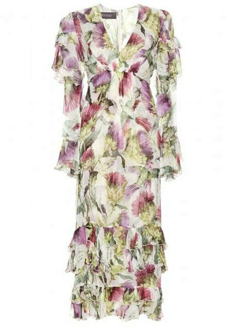 Gucci Floral Thistles and Birds Print Romantic Silk Watercolor Long Night Out Dress Size 4 (S) Gucci Floral Thistles and Birds Print Romantic Silk Watercolor Long Night Out Dress Size 4 (S) Image 1