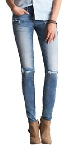 American Eagle Outfitters Denim Wash Gently Used Skinny Jeans-Light Wash