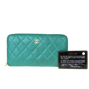Chanel Auth CHANEL CC Quilted Zipper Long Zipper Wallet Purse Leather Green