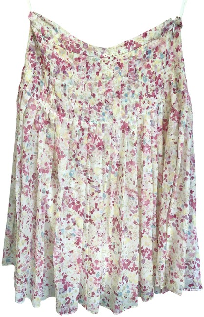 Item - Cream Pink Gold Yellow Collection Floral Print Silk Pleated Skirt Size 6 (S, 28)