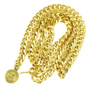 Chanel Authentic CHANEL Logos Charm Chain Long Belt Gold-Tone 95P Accessory