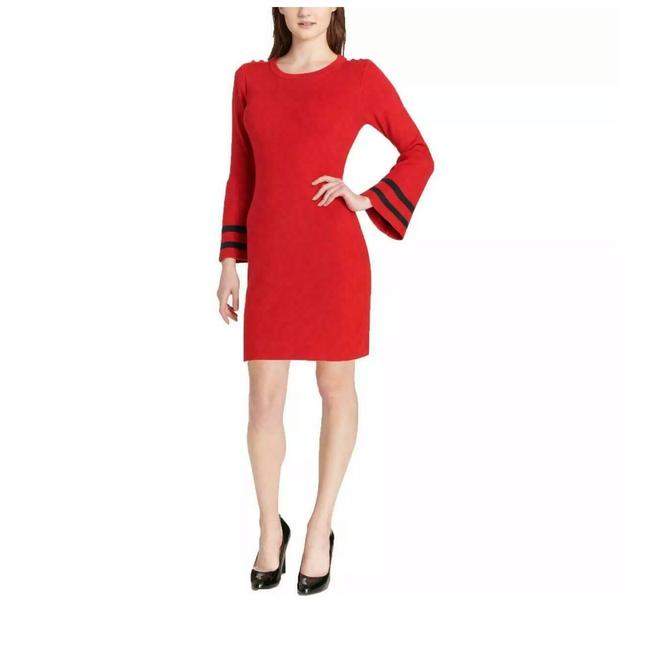Item - Red Knit Sweater Short Casual Dress Size 8 (M)