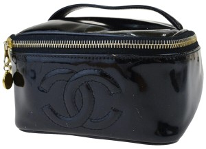 Chanel Auth Chanel Enamel Patent Leather Vanity Bag Black