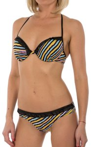 Just Cavalli New Women's Stripped Underwire Push-Up Two Piece Bikini Swimsuit