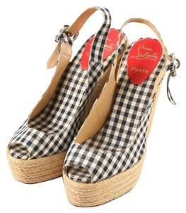 Christian Louboutin Gingham Espadrille Spring Black and White Wedges