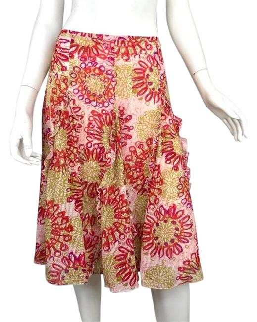 Item - Red/Green/Purple/Pink Beth Bowley Floral Ruffle Skirt Size 8 (M, 29, 30)
