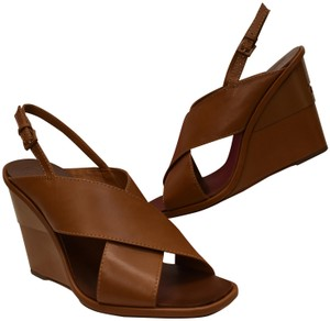 Tory Burch Slingback Wedge Crisscross Strap Leather Brown Sandals