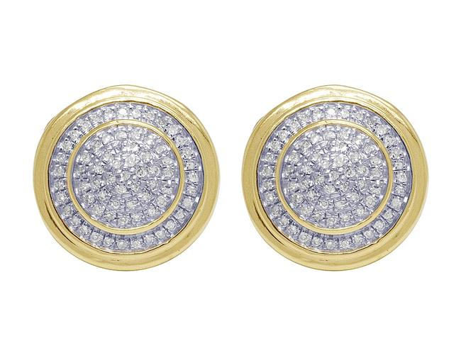 Item - Yellow Gold Two Tier Pave Cluster Stud 0.25 Ct Earrings