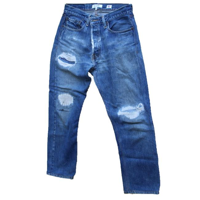Item - Blue Distressed Straight Leg Jeans Size 6 (S, 28)