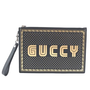 Gucci Logo Black gold Clutch