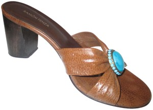 Ramon Tenza Turquoise Slides Criss-cross Lizard Brown Sandals